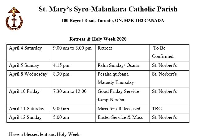 Holy Week 2020 - St Marys' Syro-Malankara Catholic Church, Toronto