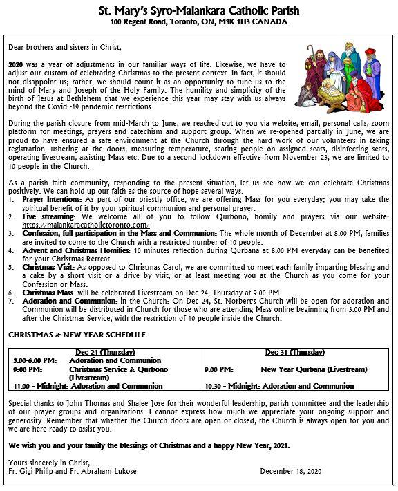 Christmas Letter 2020 - St. Mary's Syro-Malankara Catholic Church, Toronto