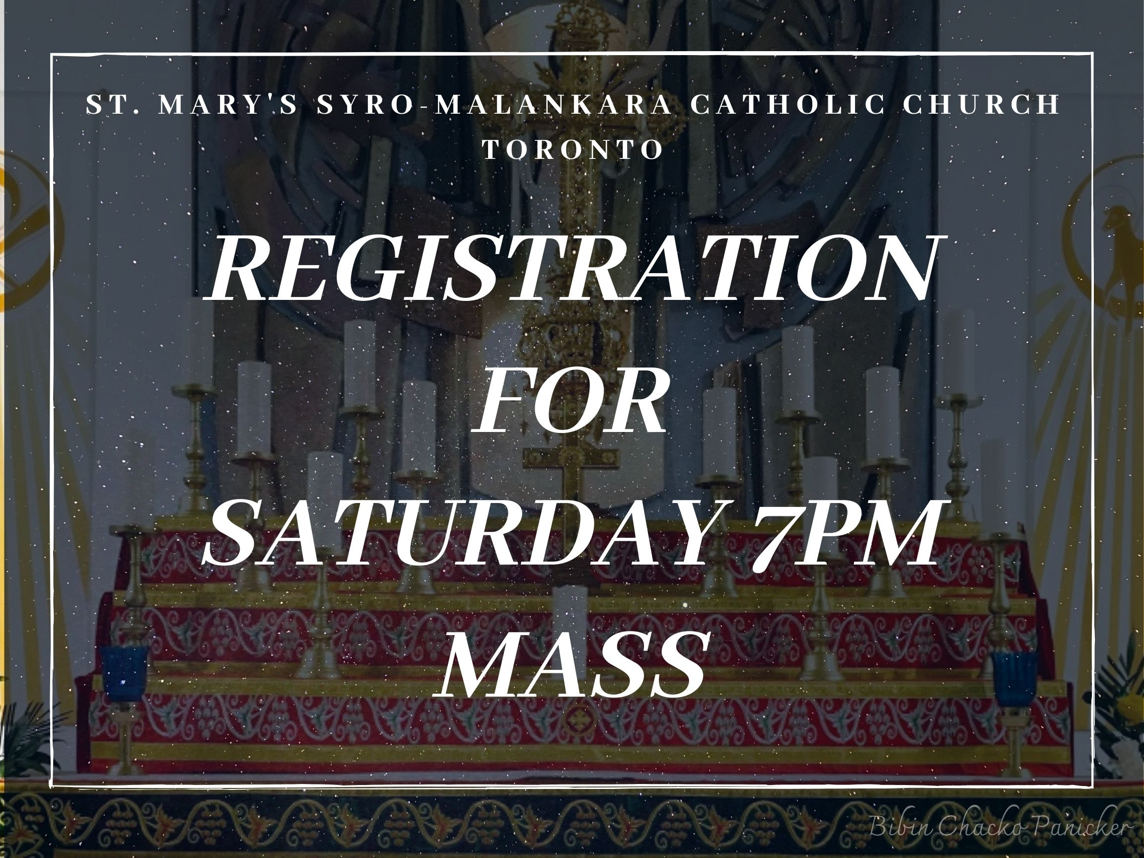 Saturday 7pm Mass sign up - St Marys' Syro-Malankara Catholic Church, Toronto
