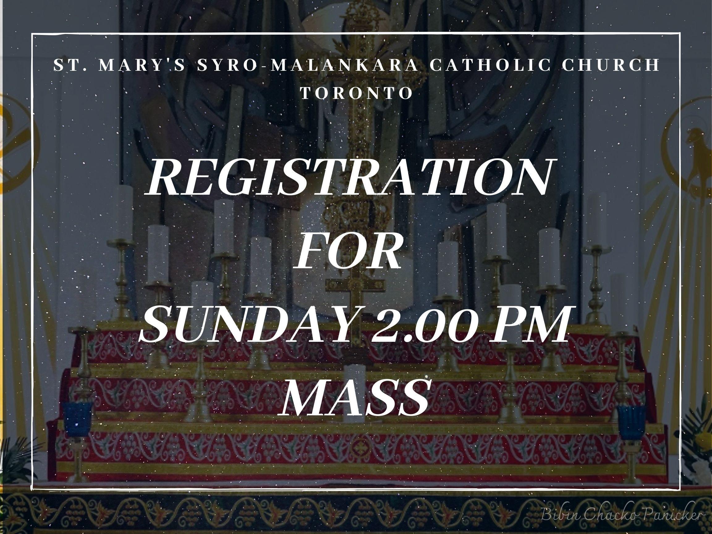 Sunday 2.00pm Mass sign up - St Marys' Syro-Malankara Catholic Church, Toronto